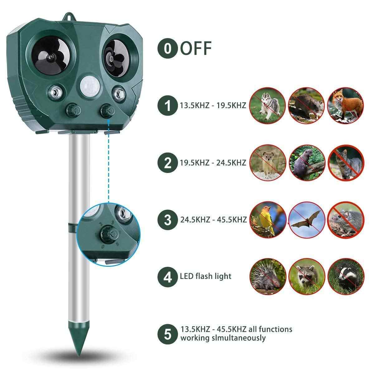 KCASA 정원 태양 Repellents 동물 마우스 조류 고양이 애완 동물 강아지 repeller Repeller 컨트롤러 활성화 모션 센서 방수