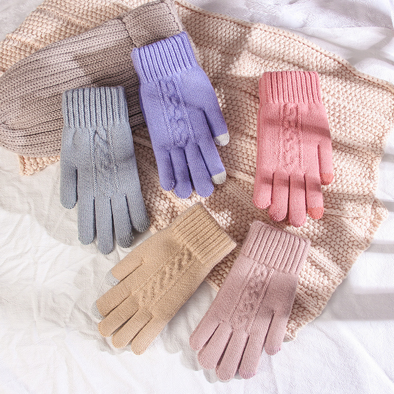 Women Winter Knitting Touch Screen Gloves Crochet Thicken Warm Driving Mittens 2019 Solid Elegant Female Gloves Driving Guantes