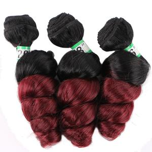 Image 5 - FSR black to golden burgundy Ombre Hair weave 16 18 20 Inches 3pcs/lot Synthetic Hair extension loose wave bundles for women