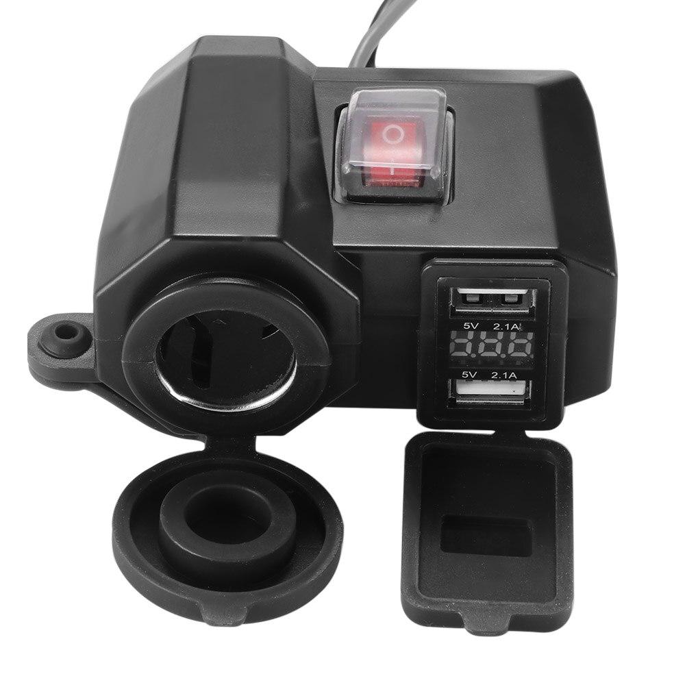 3 In 1 Motorcycle USB Charger Waterproof ABS Socket Digital Display Black Dual Voltmeter Cigarette Lighter USB Charger