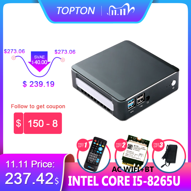 2019 New Mini PC Intel i5 8265U  2*DDR4 32GB RAM NVME M.2 SSD Pocket PC Nuc Desktop Computer Windows 10 Pro Type c 4K HDMI2.0 DP