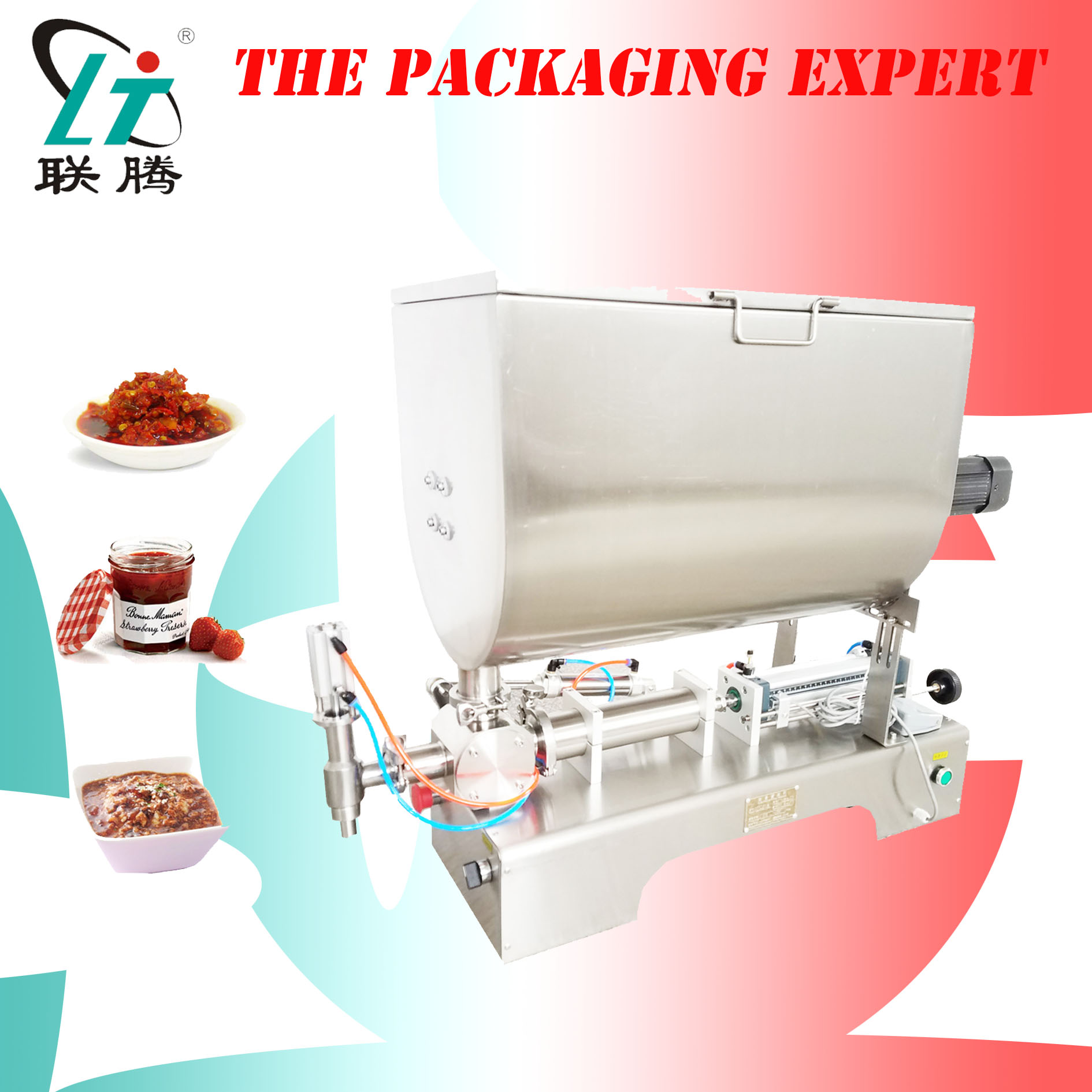 Chilli Sauce Filling Machine Mixing Hopper Filler Hot Pepper Peanut Butter Chocolate Granules  Paprika Filler Free Shipping