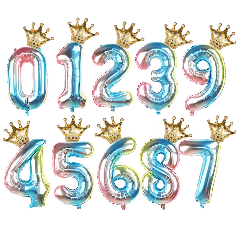 Image 2 - 1Set 32Inch Number Foil Balloon Crown Figure 0 9 Birthday Wedding Engagement Kids Birthday Party Decoration Globos Ball Supplies-in Ballons & Accessories from Home & Garden