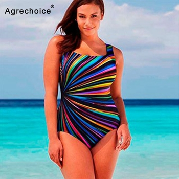 2019 New Striped Print Plus Size Swimwear Women One Piece Swimsuit Large Size Bathing Suits Beach Wear Swimming Suit For Women