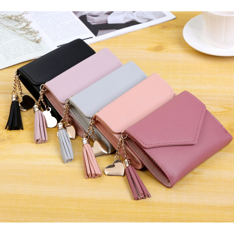 2019 Cute Student  Wallet Large Capacity Women's Purses Fashion Trend PU Coin Purse Solid Color Woman Wallets