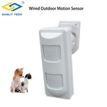 3 기술 유선 야외 방수 알람 모션 탐지기 애완 동물 면역/광각/커튼 PIR 감지기 하우스 알람 보안 시스템에 대 한