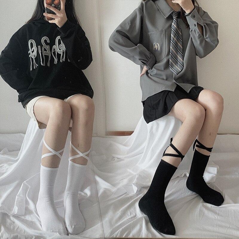 Японский Светоотражающие чулки повязки Лолита носки Длинные гольфы корейский стиль женские белые хлопковые носки косплей JK носки милые