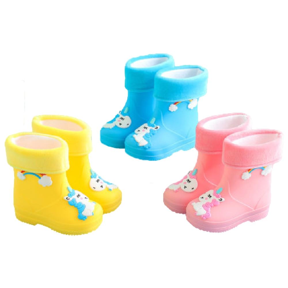 Anne ve Çocuk'ten Botlar'de Yeni çocuk yağmur çizmeleri kızlar için kauçuk Rainboot erkek bebek kız PVC sıcak çocuk su geçirmez ayakkabı Modis karikatür Unicorn çıkarılabilir