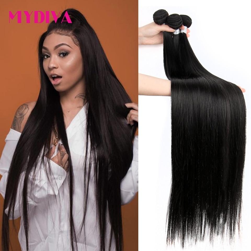 Пряди бразильских волос Mydiva 8-34 36 38 40 дюймов, прямые 100% человеческие волосы, 3/4 пряди, натуральные волосы Remy для наращивания