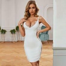 Женское кружевное Бандажное платье белое ажурное с v образным