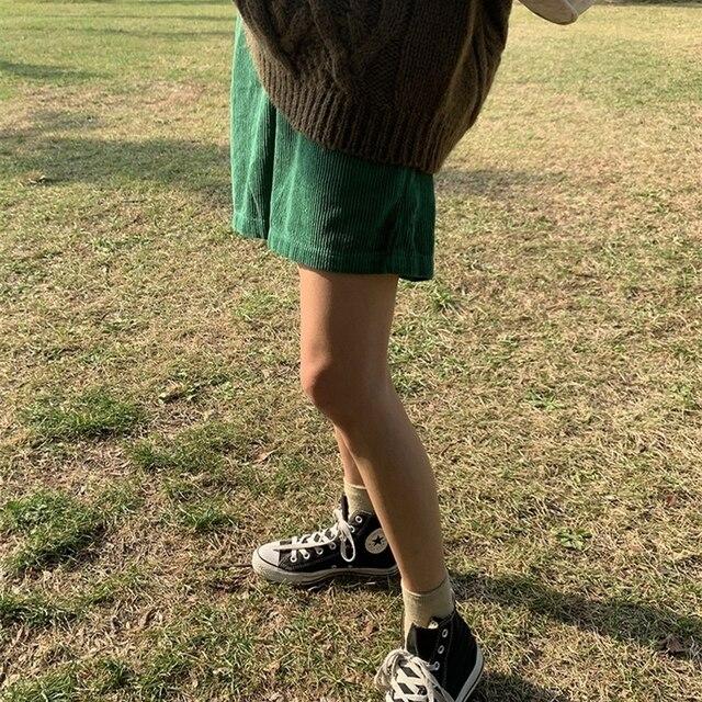 Flectit Bermuda Shorts Women High Waist Wide Leg Oversized Shorts Corduroy Student Girl Casual Outfits 3