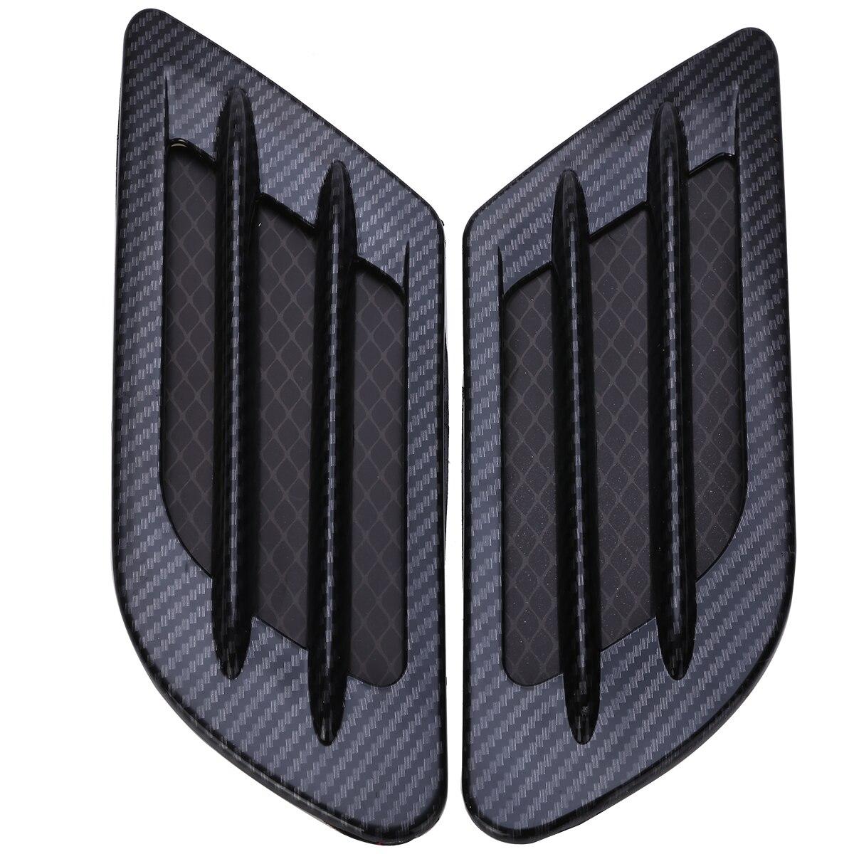 2pcs Car Styling Carbon Fiber Side Vent Air Flow Bonnet Hood Fender Sticker Decor Car Accessories