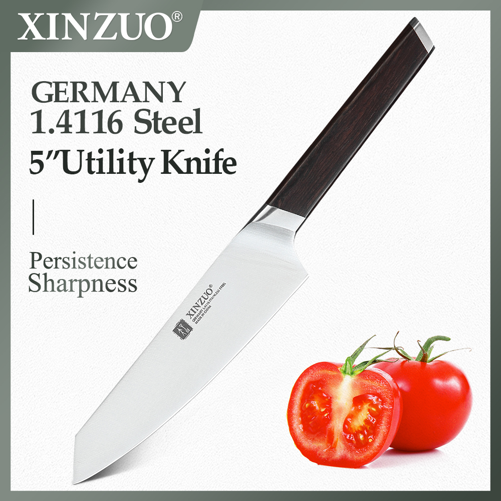 Cuchillo de cocina XINZUO de 5 pulgadas, herramienta de cocina, cuchillo de cocina alemán DIN 1,4116, cuchillo de pelar superafilado de acero, mango de ébano