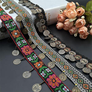 Image 3 - Ethnic Polyester Lace Trim With Copper Decoration Vintage Fabric Ribbon Sewing Crafts Accessory Embellishment 20/25 mm 0.9m 1 PC