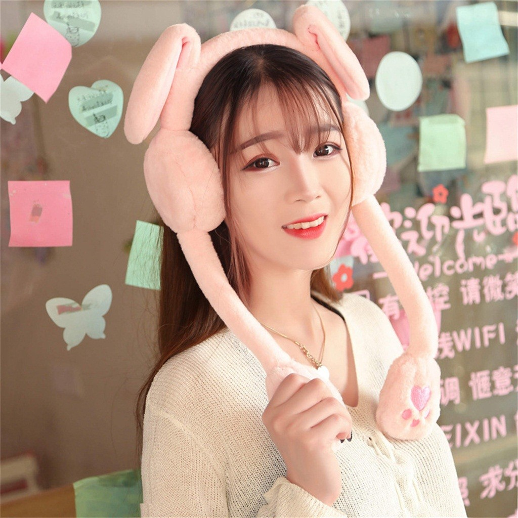 Rabbit Moving Ears Hat Soft Plush Toy Hat Earwarmer Bunny Earmuffs Funny Toy Party Girls Cartoon Stuffed Cap For Children Gifts