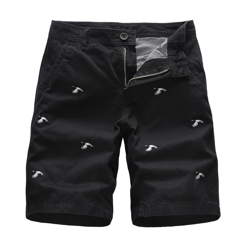 GustOmerD 2020 Summer Men's Shorts Loose Casual Pants Embroidery 100% Cotton Straight Shorts Men