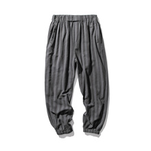 Cropped Trousers Leg-Harem Linen Bottoms Loose Thin Chinese-Style Striped Straight Large-Size