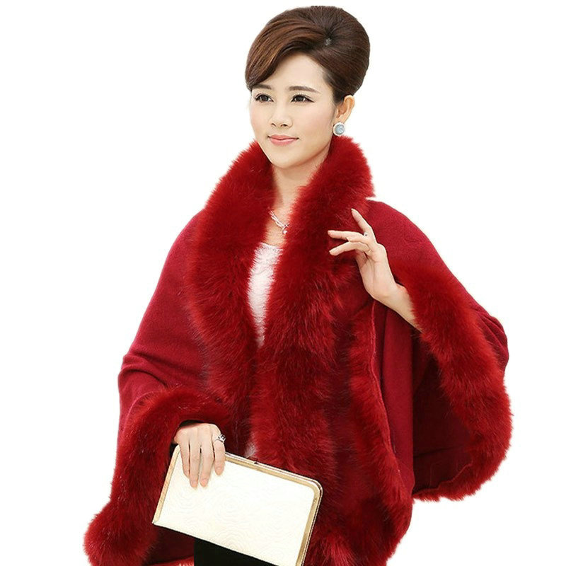 Fashion Autumn Winter Women High Quality Fake Fox Fur Collar Wool Cashmere Poncho Capes Knitted Cardigan Sweater Coat MY03
