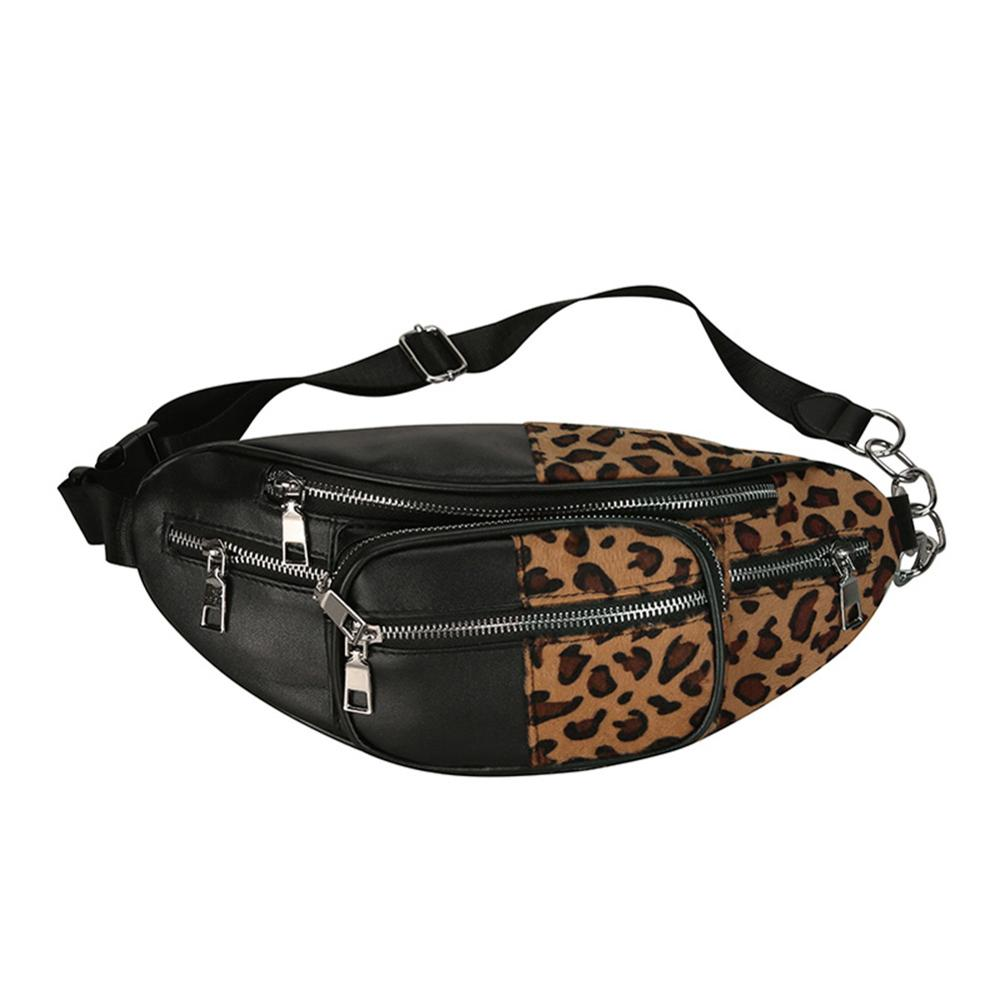 Fashion Women's Leopard Waist Bag Fanny Pack Money Waist Pouch PU Leather Chest Bags For Women Shoulder Bags Bolsas Feminina