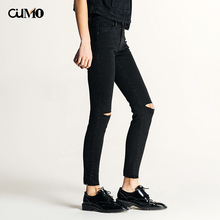 [OuMo] brand high quality Low waist jeans women  ripped for Women pencil pants leggings 2019 new