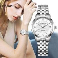 STARKING Relogio Feminino, автоматические женские часы, Топ бренд, роскошные женские часы, Авто Дата, механические Женские часы, белое платье