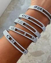 Bracelet personnalisé avec lettres en Zircon 5a pour femmes, bijoux personnalisés avec 26 lettres de l'alphabet, cadeaux de noël