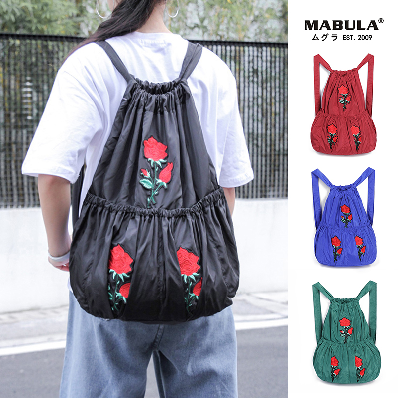 Large Portable Foldable Shopping Bag Lightweight Vintage Print Folding Lady Drawstring Backpack Travel Waterproof Multi-pocket