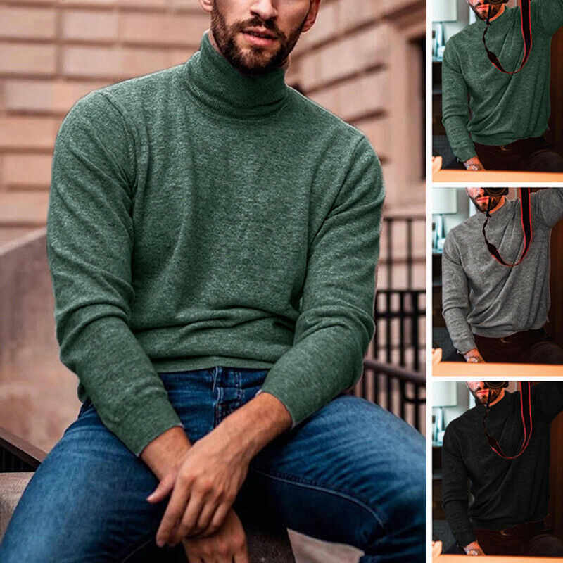 Gothic Modis Men Turtleneck Pullover Sweater Winter Warm Male Cotton Clothes Stretch Knitted Slim Fitness Jumper Men Sweater
