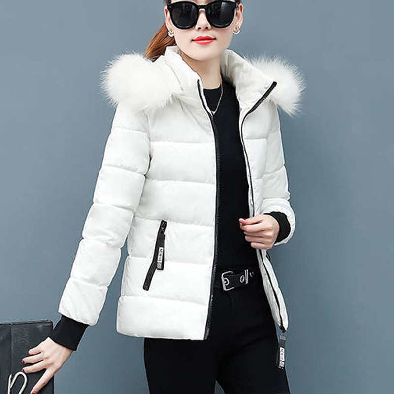Women Winter Coats Casual Solid Hooded Warm Jacket Short Jacket Mujer Hooded Parkas Winter Coat Women Fur Collar Padded