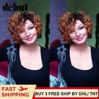 Debut Blonde Brazilian Short Curl Human Hair Wigs Remy Short Wigs 100% Human Hair Big Curl Ombre Human Hair Wigs For Black Women
