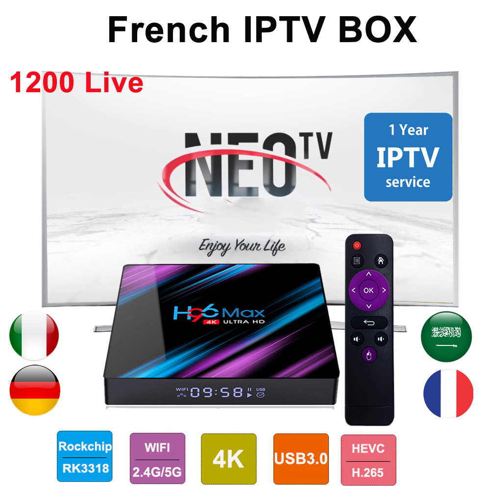 French IPTV Box H96 MAX Android TV BOX 1 Year France Iptv Subscription Neotv Pro Arabic Belgium Neo Tv Pro M3u IPTV Set Top Box