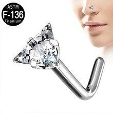 2 sztuk ASTM F136 Ttianium L Bend nos stadniny trójkąt CZ kamień pierścienie nosowe nozdrza kolczyki do całego ciała dla kobiet hurtownie 20g