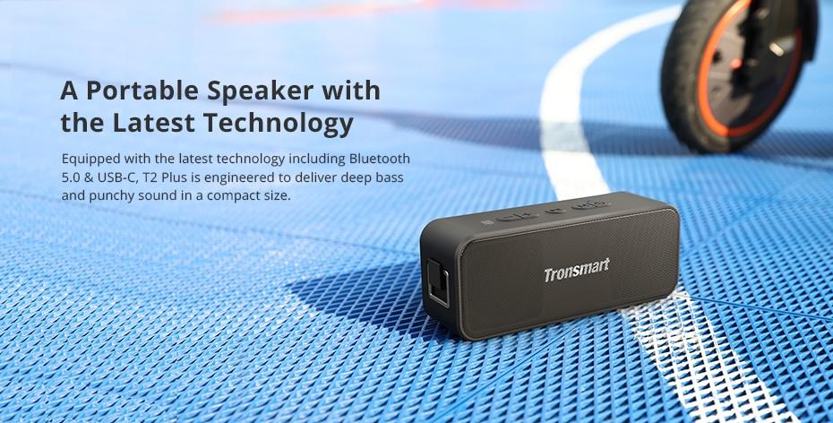 Tronsmart T2 Plus Bluetooth 5.0 Speaker 20W Portable Speaker 24H Column IPX7 Soundbar with NFC, TWS,Voice Assistant,Micro SD (13)