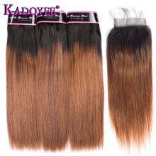 Ombre Brazilian Hair Straight 1B/30 Brown Human Hair Weave Bundles With Closure 3+1 Bunldes Remy Hair Weft Extensions 10-26 Inch