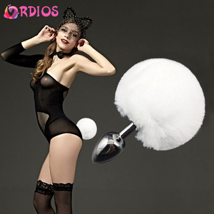VRDIOS 9CM Rabbit Tail Metal Anal Plug Erotic Toys Butt Plug Bunny Tail Anal Sex Toys for Women Couples Adult Products Sexy Shop(China)