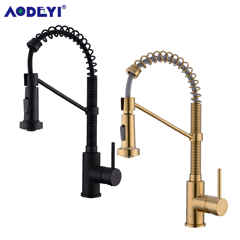 AODEYI Brushed Gold Brass Kitchen Sink Faucet Pull Down Kitchen Faucet Single Handle Mixer Tap 360 Rotation Torneira Cozinha Mix
