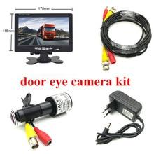 "HD kapı göz CCTV sistemi 2MP balık gözü Lens 1080P AHD Mini gözetleme kamerası ile 7 ""inç AHD IPS monitör kapı deliği kamera sistemi"