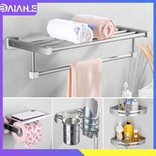 Towel Rack Hanging Holder Stainless Steel Bathroom Hardware Set Towel Bar Bathroom Shelf Organizer Robe Hook Toilet Paper Holder стоимость