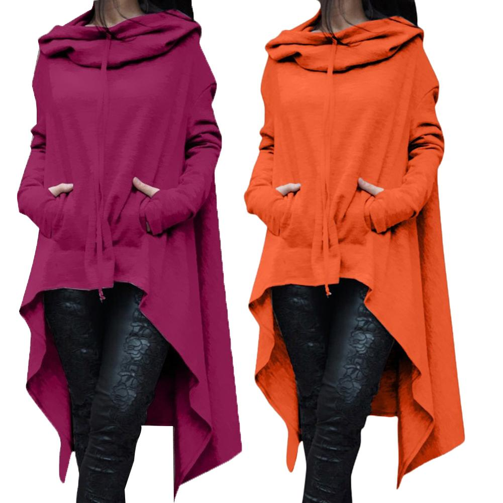 Hot Fashion Lady Solid Color Long Sleeve Asymmetrical Hem Fishtail Hooded Hoodie Sweatshirt Cotton And Spandex Women's Hoodie