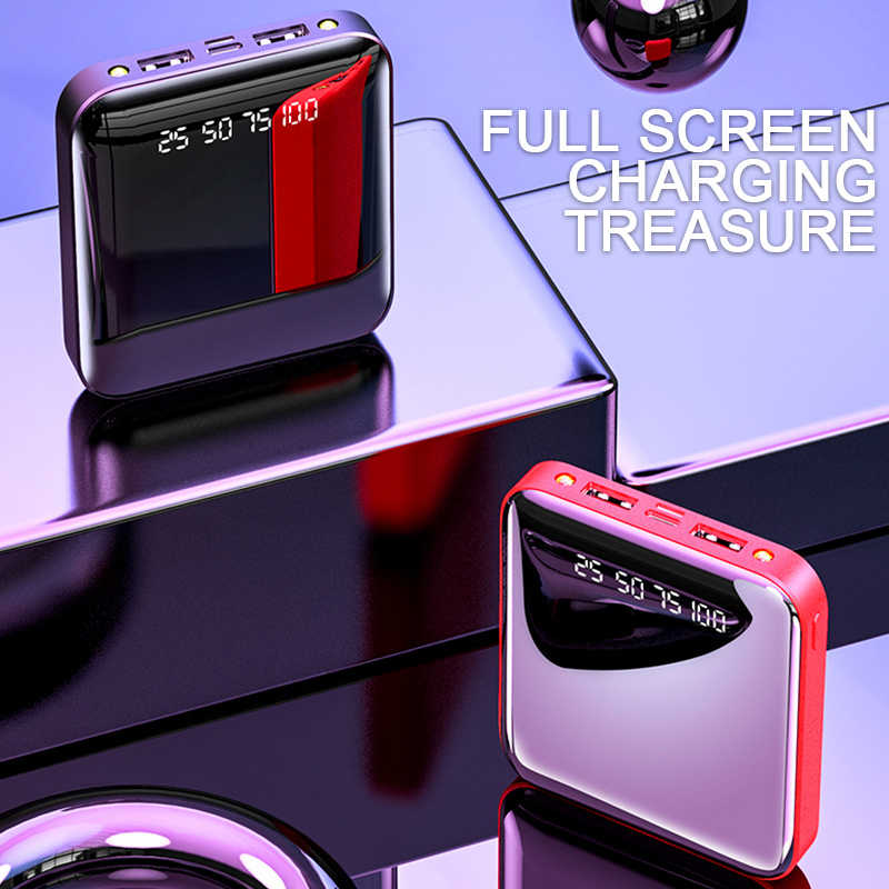Mini 20000mAh Power Bank For iPhone 8 Xiaomi Mi Powerbank Pover Bank Charger Dual Usb Ports External Battery Poverbank Portable