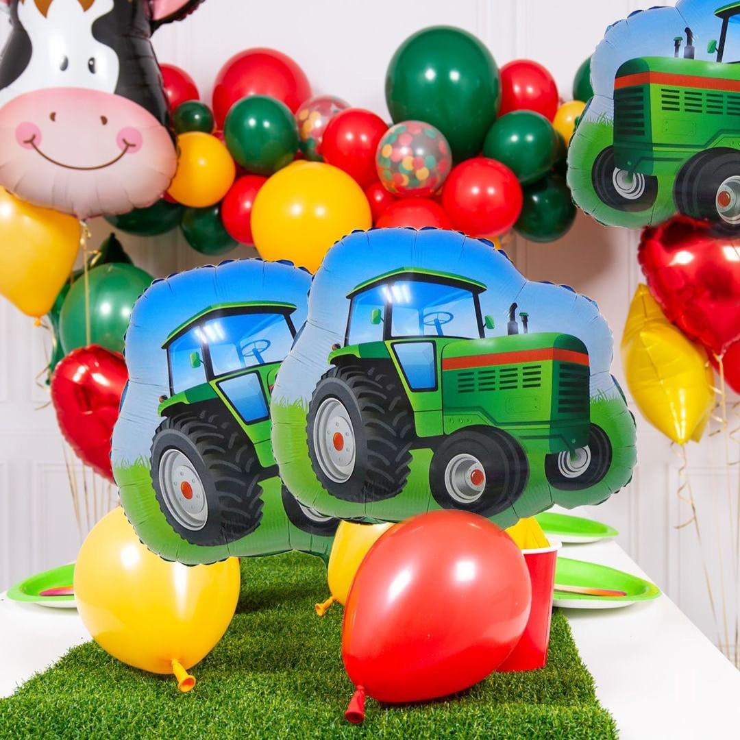 1 ensemble vert tracteur ballon ferme thème enfants joyeux anniversaire bannière véhicule tracteur ballons pour la décoration de fête danniversaire