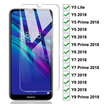 Перейти на Алиэкспресс и купить Закаленное стекло 9H для Huawei Y7 Y6 Y5 Prime 2018 2019 Y5 Lite защитное стекло Huawei Y9 2018 Prime 2019