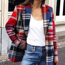 Plaid Casual mujer Blazer chaquetas de una sola botonadura otoño primavera 2019 rojo mujer Blazer moda Streetwear Vintage abrigos femeninos
