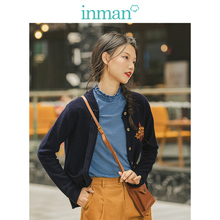 INMAN Spring Autumn Ribbing O neck Embroidery Literary All Matched Deep Blue Retro Women Cardigan