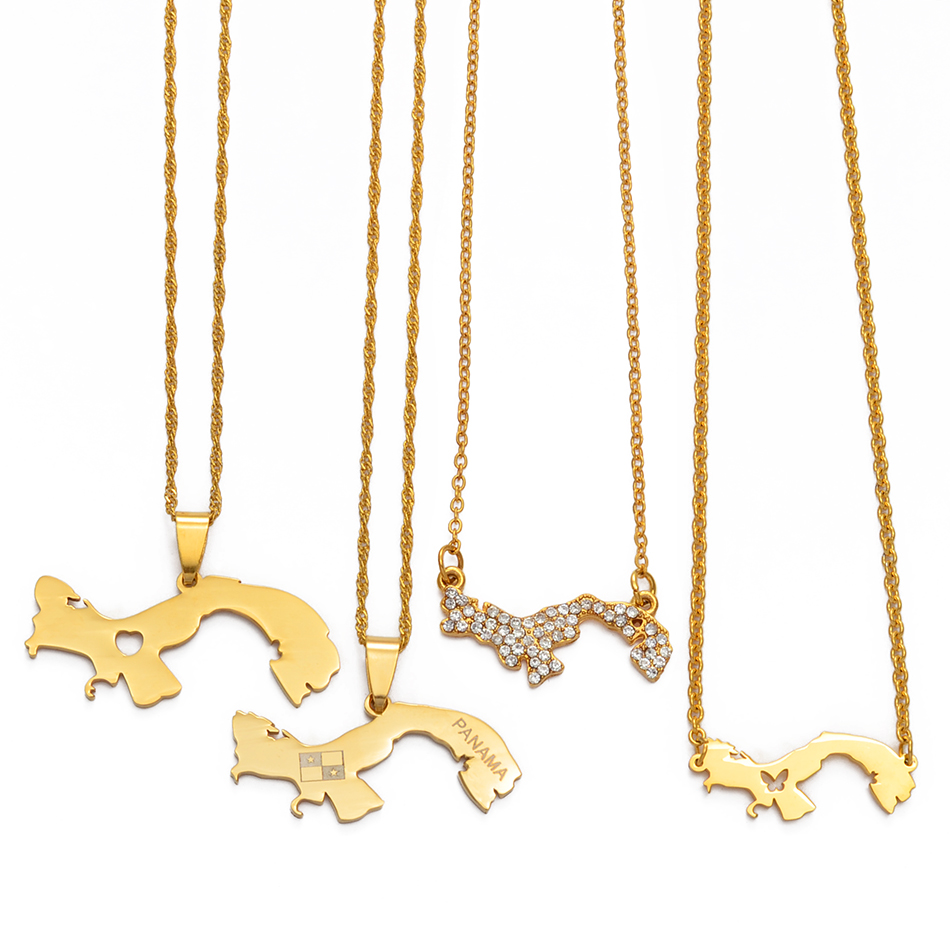 Anniyo цвета золота Панама карта кулон цепи ожерелья панамские карты Ювелирные изделия Подарки #011621