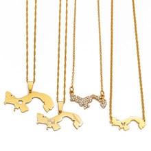 Anniyo ouro cor panamá mapa pingente corrente colares panamenho mapas jóias presentes #011621