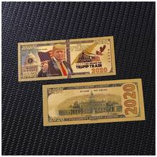 10Pcs/Lot New 2020 Year America Trump Banknotes 2020 Dollar Bills Banknote in 24K Gold Plated Paper Money For Gifts(China)