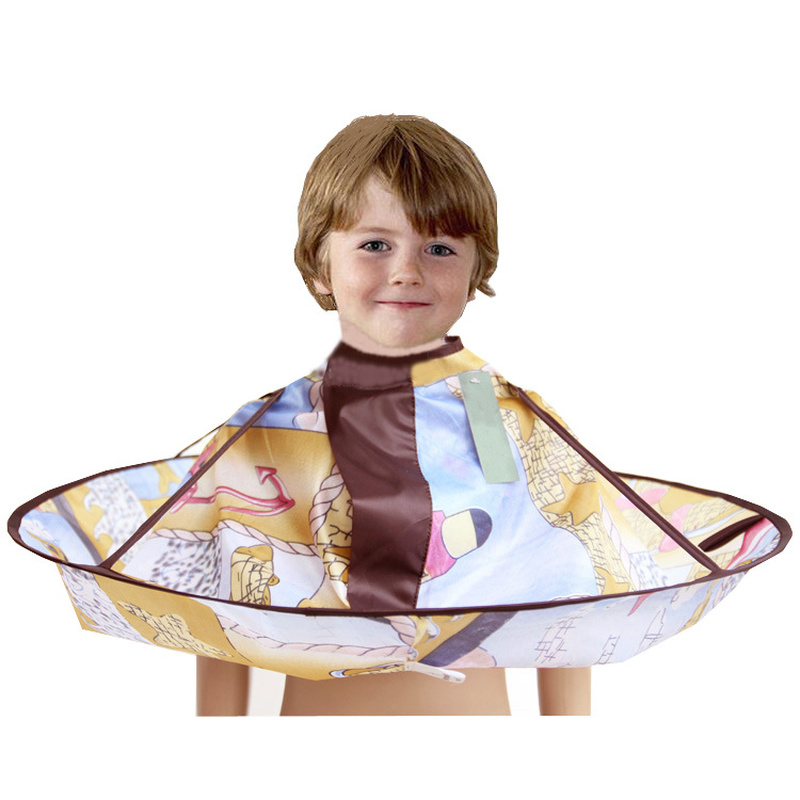 1PCs Cartoon Barber Kids Hair Cutting Cape Gown Salon Hairdresser Barber Apron Hairdressing Children Haircut Barber Wrap Tools