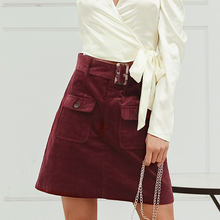 Sollinarry Wine Red Women Skirts Autumn Winter Pockets High Waist Corduroy Sexy Skirt Ladies Belt Chic Streetwear Skirts Vintage(China)