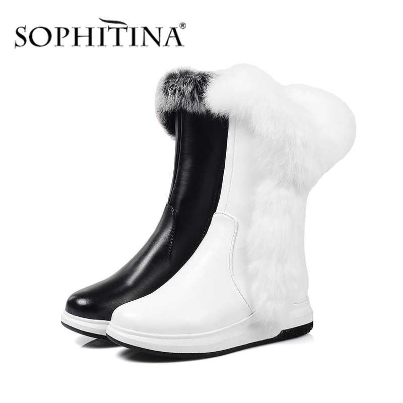 SOPHITINA kış yeni botlar süper sıcak rahat yuvarlak ayak moda fermuar kama katı el yapımı sıcak satış ayakkabı kadın botları PO332